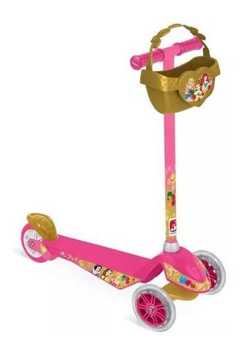 Patinete Infantil Disney Princesas Com Cesto Rosa C Dourado