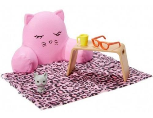 Boneca Barbie Cenario E Pet Sofa Gatinho Quarto Lançamento