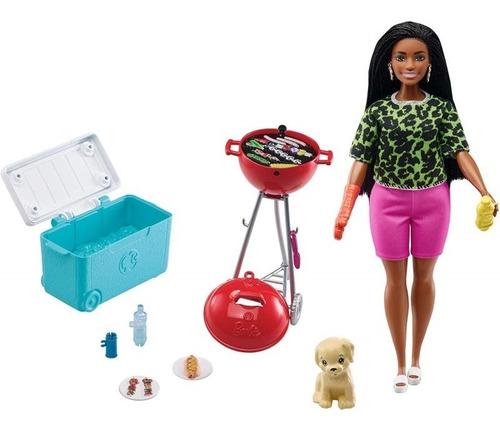 Boneca Barbie Cenario Churrasco C/ Grelha Perfumanda C/ Pet