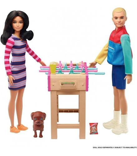 Boneca Barbie Cenario Mesa De Pebolim Noite Dos Jogos C/ Pet