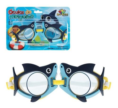 Oculos De Mergulho Doo Doo Shark Infantil Tubarão Azul