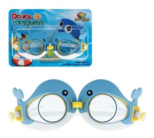 Oculos De Mergulho Golfinho Infantil Azul Celeste Com Fecho
