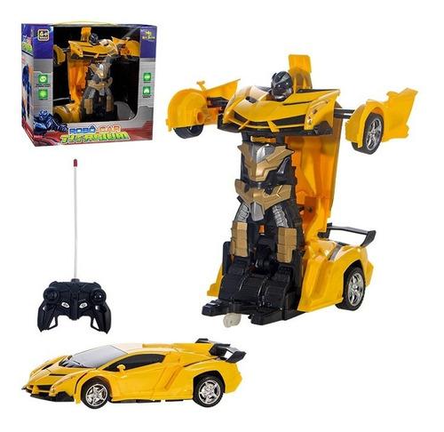 Carrinho De Controle Remoto Ferrari Transformers 2 Em 1 Robo - Amarelo