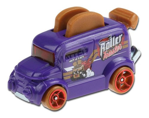 Carrinho Hot Wheels Roller Toaster Torradeira Ed Fast Foodie - Roxo