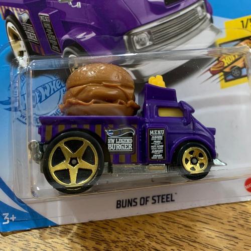 Carrinho Hot Wheels Buns Of Steel Hambúrguer Ed Fast Foodie - Roxo