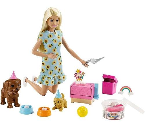 Boneca Barbie Loira Festa D Aniversario Pet C/ Massinha 2021