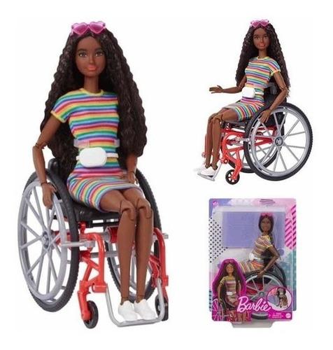 Boneca Barbie Negra Cabelo Cacheado Cadeira De Rodas Ed 2021