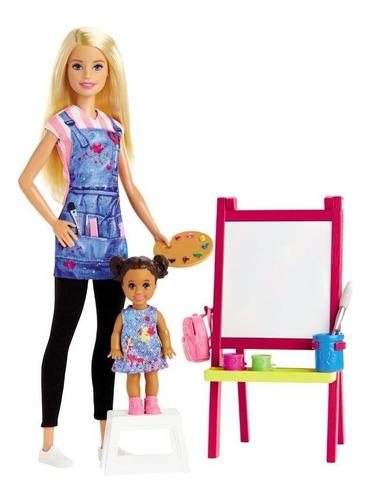 Boneca Barbie Profissões Professora De Arte E Pintura Com Aluna