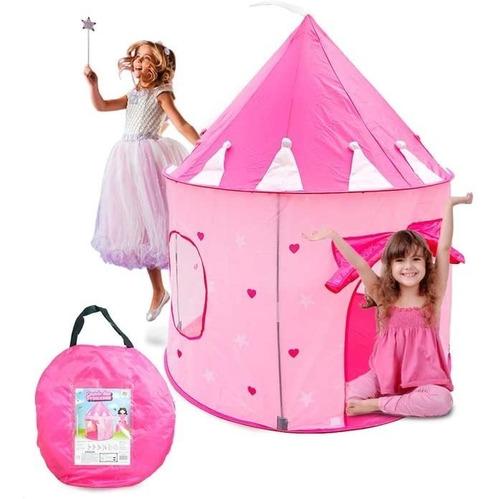 Barraca Tenda Castelo Da Princesa Rosa Dobrável Com Led