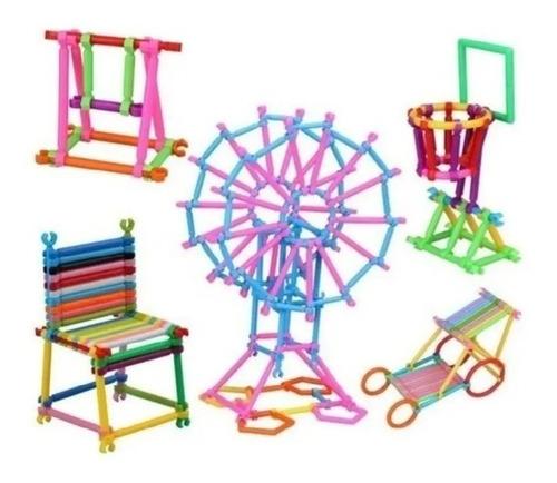 Bloco De Montar Colorido Brinquedo Educativo Com 98 Peças
