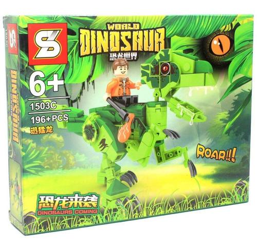 Bloco De Montar Dinossauro Com 196 Peças Velociraptor Verde