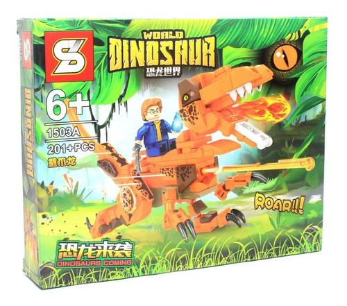 Bloco De Montar Dinossauro Com 201 Peças T-rex - Com Atirado