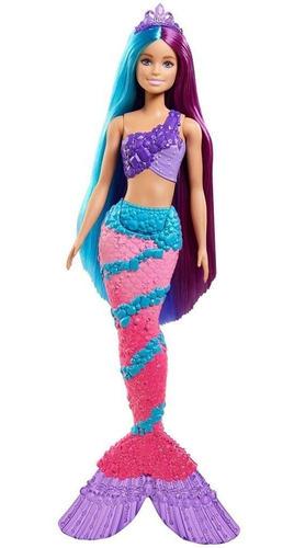 Boneca Barbie Calda Sereia Cabelo Azul/roxo Penteado Magico