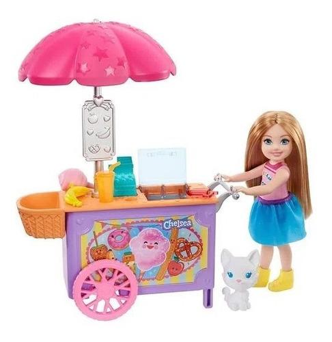 Boneca Barbie Club Chelsea Carrinho De Sorvete Com Pet