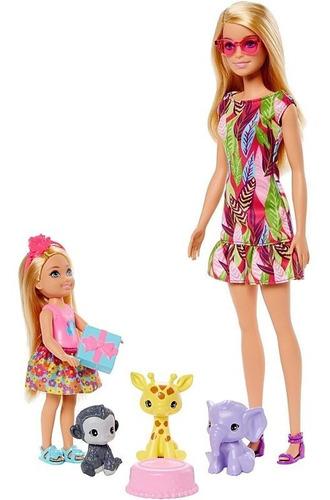 Boneca Barbie Festa De Aniversario Chelsea Playset Com 3 Pet