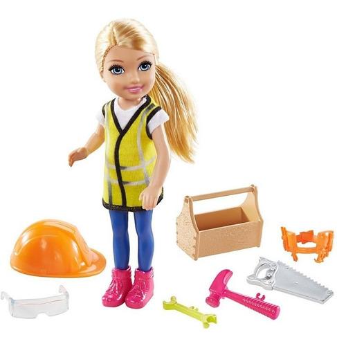 Boneca Barbie Playset Chelsea Prosissões Construtora Loira