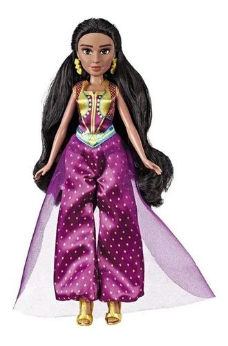 Boneca Princesa Jasmine Filme Aladdin Vestido Roxo Cabelos L