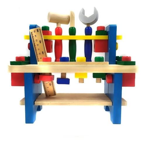 Brinquedo Bancada De Ferramentas Infantil Madeira 41 Peças