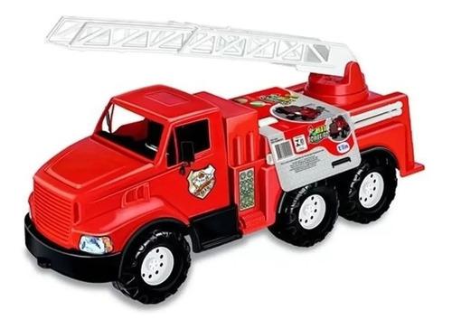 Caminhão De Bombeiro Grande Vermelho Vivo 77 Cm Max Tilin