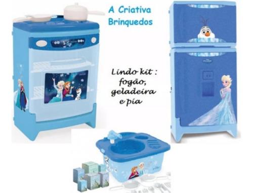 Cozinha Infantil Frozen 3pçs Side By Side Fogão Pia Xalingo