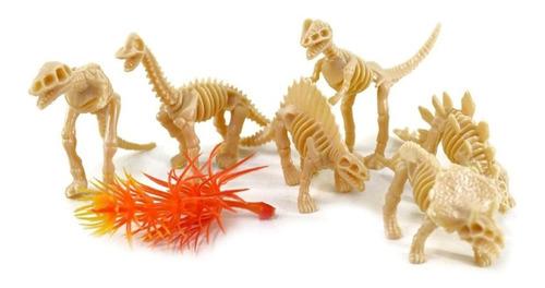 Dinossauro Esqueleto Fossil 7pç Brinquedo Plástico Miniatura