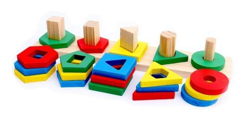 Jogo Educativo Pirâmides De Encaixe 17 Peças De Madeira