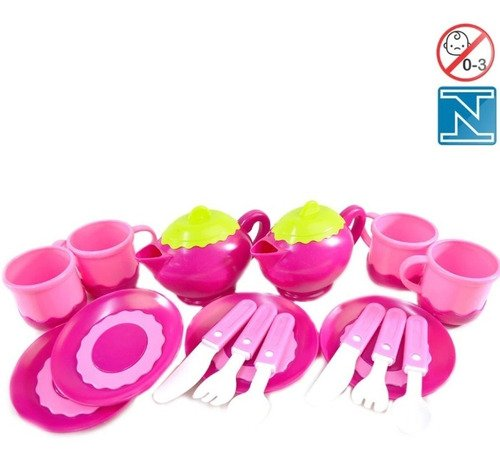 Kit Cozinha Super Hora Do Chá Brinquedo Com 16 Peças Rosa