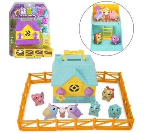 Mini Casinha Lilly Pet Com Bichinhos Cerca E Escada E Caixa