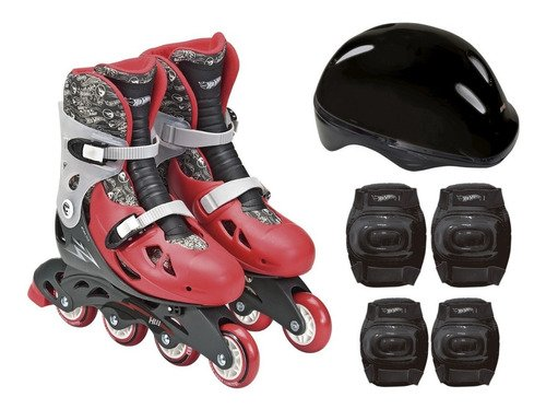 Patins Infantil Hot Wheels Numero 37 A 40 Com Kit Proteção