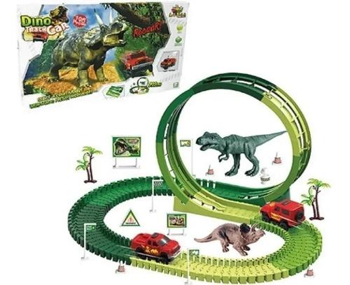 Pista Dino Dinossauro Track Car Com 108 Pçs E 2,22 Metros