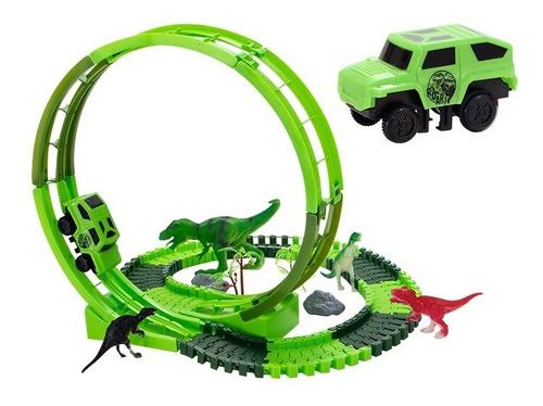 Pista Dinossauro C Carrinho Racing 116 Pçs Dino Rex Com Loop