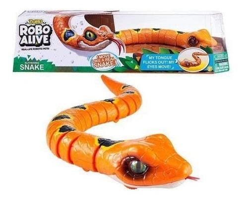 Robo Alive - Cobra Serpente Com Movimento Rasteja C Lingua - Laranja