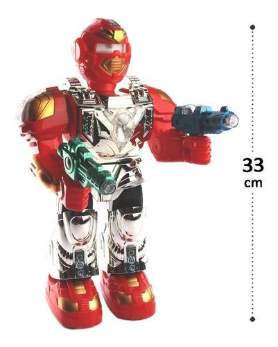 Robô De Plástico Guerreiro Com Luz, Movimento E Som A Pilhas