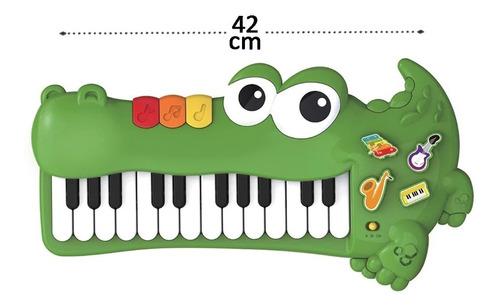 Teclado Piano Divertido Jacare Baby Com Som E Musica 42cm