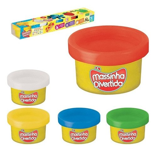 Kit Massinha Divertida 5 Potes Coloridas Cada Com 25g