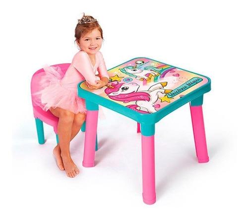 Mesa Mesinha Unicórnio Mágico Com 1 Cadeira E Porta Objetos