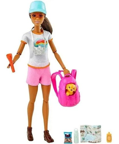 Boneca Barbie Viajante Morena Caminhada Com Mochila E Pet