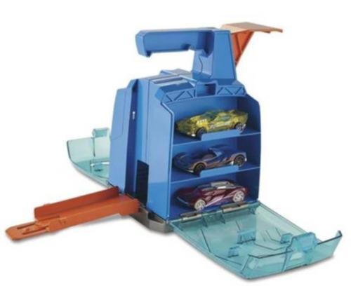 Hot Wheels Caixa Lançadora De Carros Azul + Carrinho Brinde