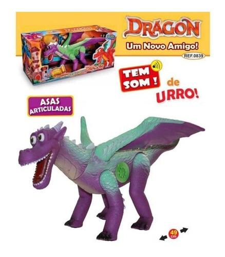 Dinossauro Dragão Lilás/ Verde 49 Cm C Som E Asas Articulado