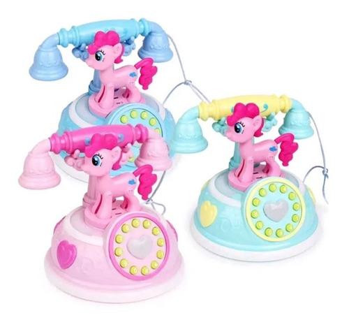 Telefone Antigo Pony Musical Diversas Músicas E Luzes Rosa