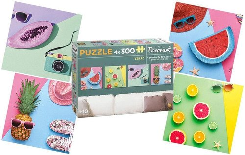 Kit 4 Puzzle Quebra Cabeça Decorart Verão Cada Com 300 Peças