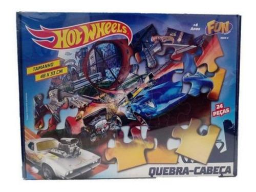 Quebra Cabeça Infantil - Hot Wheel 24 Peças - Fun