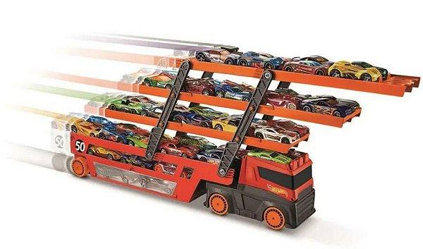 Veículo Hot Wheels Caminhão Mega Transporter Cabe 50 Carros