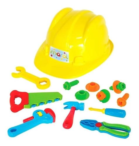 Conjunto De Ferramentas De Brinquedo Com Capacete 15 Peças