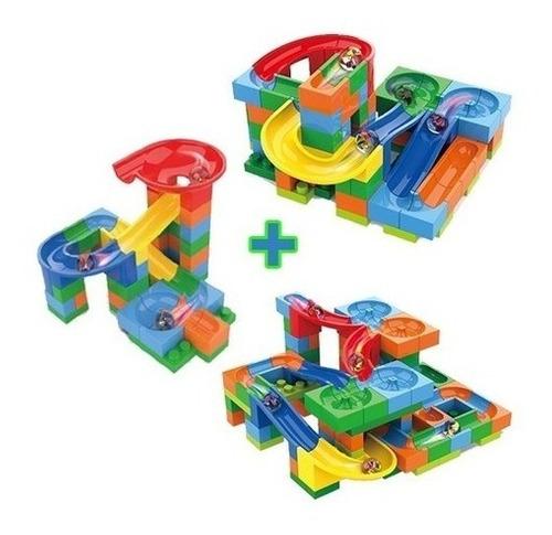 Kit 3 Pista Bolinhas De Gude Blocos Montar 282 Pçs Labirinto