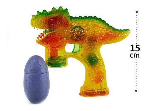 Pistola Lança Bolhas De Sabão Dinossauro Colorido A Pilha