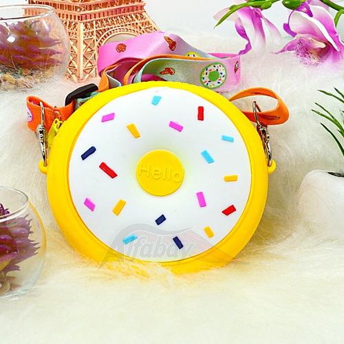 Bolsa Infantil De Ombro Com Alça No Formato De Donut Amarelo