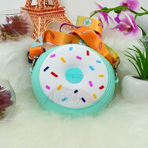 Bolsa Infantil De Ombro Com Alça No Formato De Donut Celeste