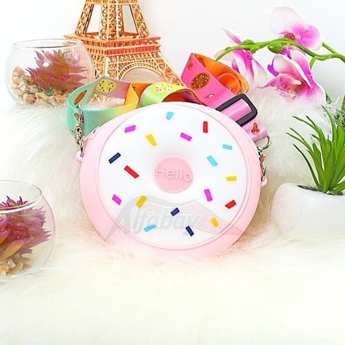 Bolsa Infantil De Ombro Com Alça No Formato De Donut Rosa
