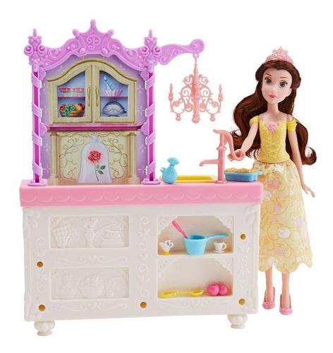 Boneca Disney Princesa Bela Cozinha Real De Luxo Playset